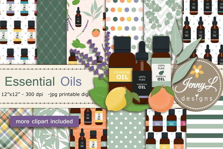 Essential Oils Digital Papers and Eucalyptus Clipart example image 1