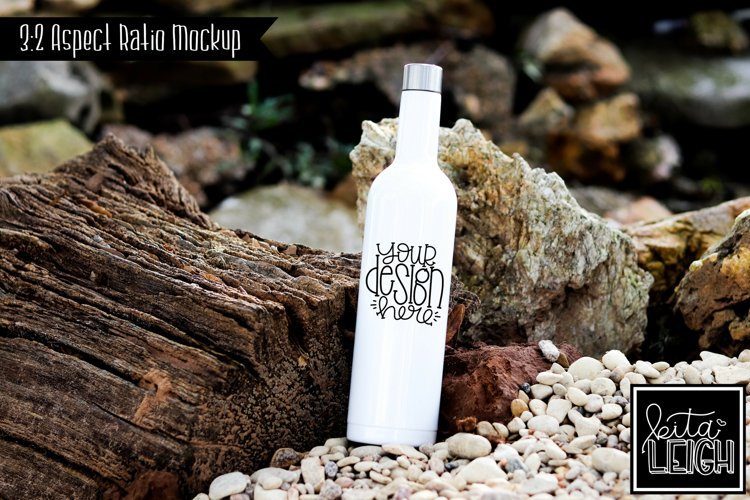 Stainless Steel White Wine Bottle Beach Lake Mockup example image 1