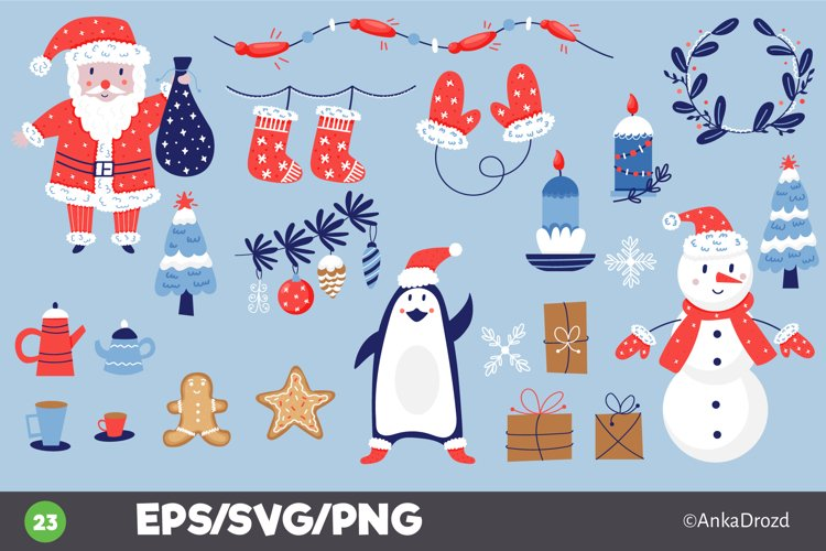 Merry Christmas set clipart. Xmas graphics Santa, Penguin example image 1