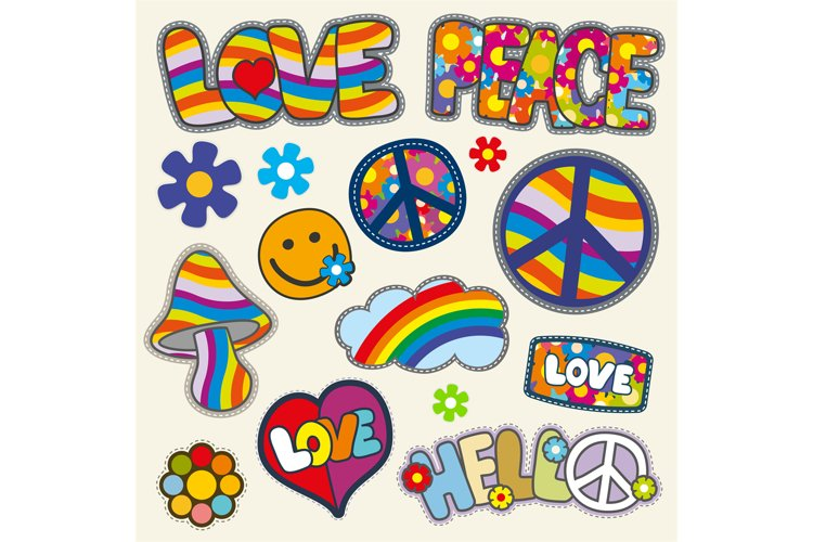 Vintage hippie patches vector set example image 1