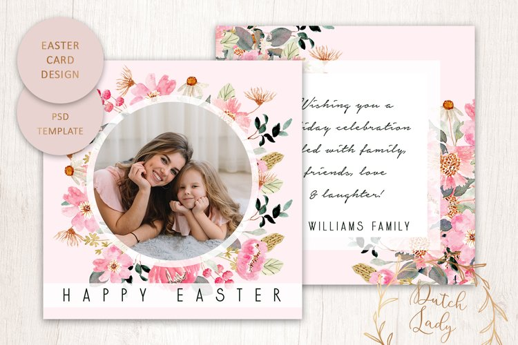 PSD Easter Photo Card Template - Double Sided - #1