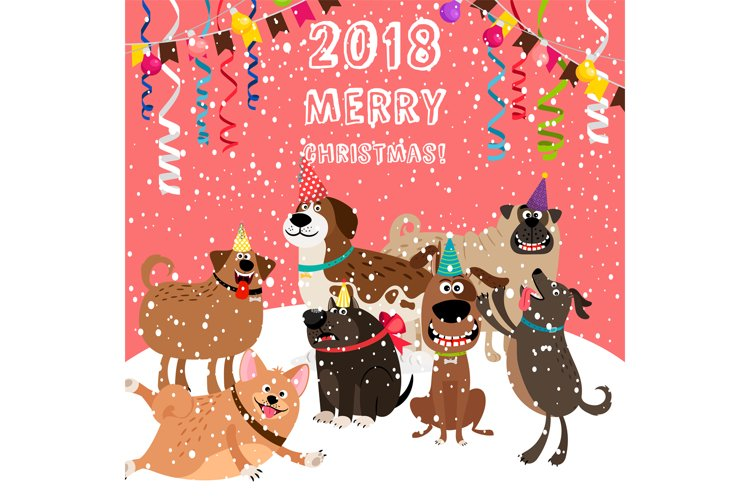 2018 christmas card with dogs party example image 1
