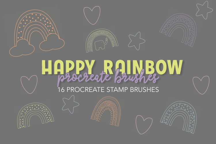 Happy Rainbow Stamp Brushes for Procreate example