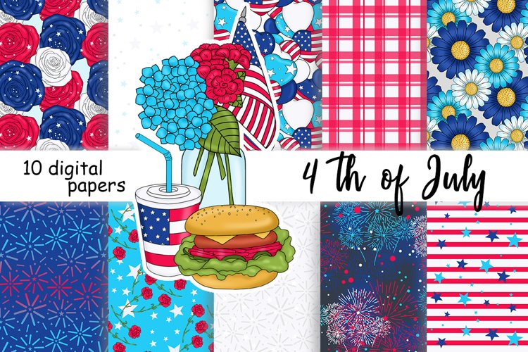 4th of July PATTERN Independence Day Stickers - JPEG files example image 1