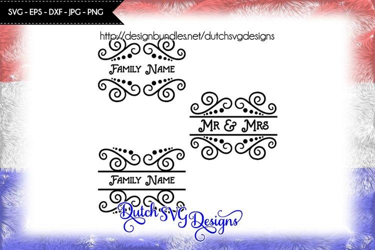 3 Swirly split border cutting files, split monogram svg example image 1