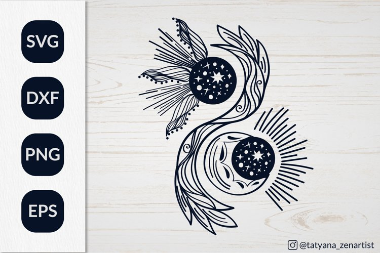 Magic Crescent moon and sun svg Yin yang Svg for kids design example image 1