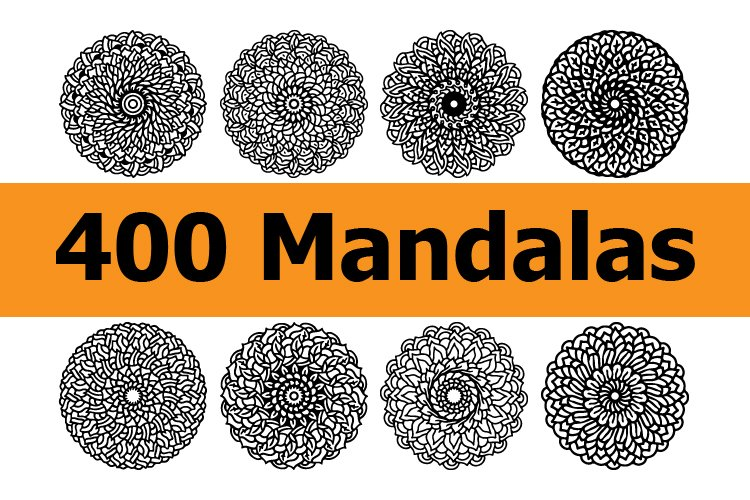 400 mandala collections in line style. ready to use vector. example image 1