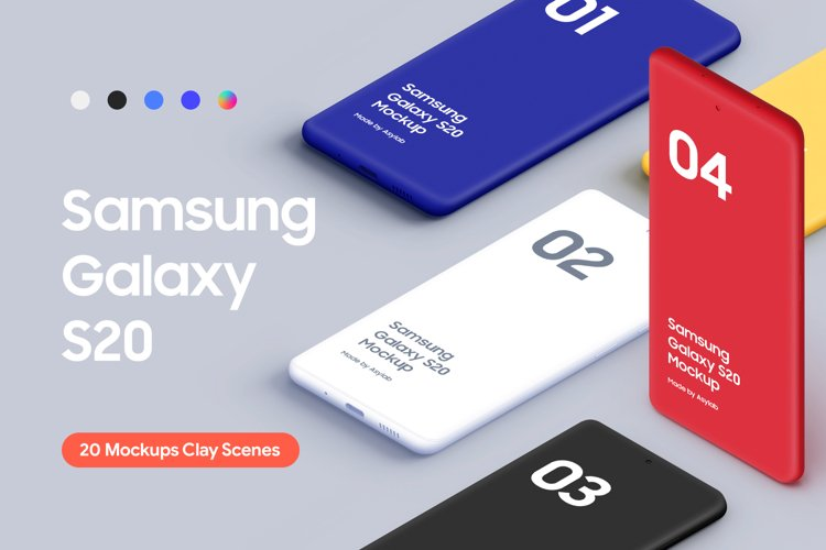 Samsung Galaxy S20 - 20 Mockups Clay Scenes - PSD
