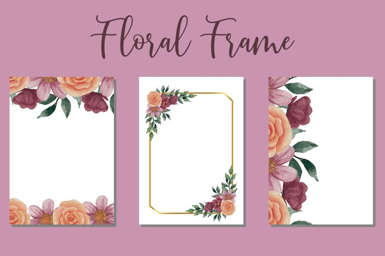 Beauty Frame Watercolor Wedding Invitation Template Design example image 1
