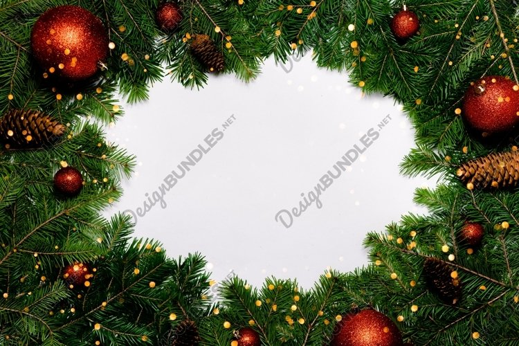 Festive New Year background bokeh lights and fur tree decor