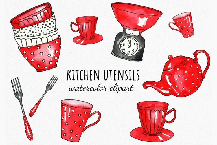 Watercolor red tableware cliparts. Kitchen utensils PNG.