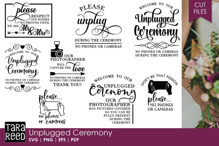 Unplugged Ceremony - Wedding SVG & Cut Files