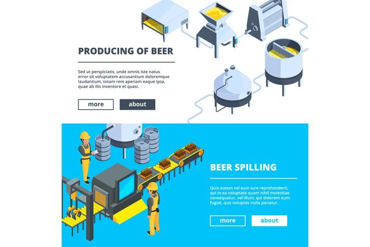 Brewery banners. Vector isometric illustrations of beer prod