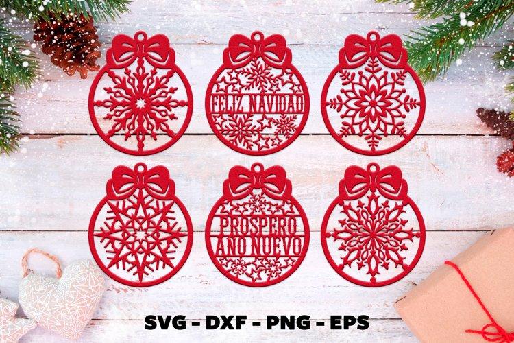 Feliz navidad svg Christmas ornaments svg example image 1