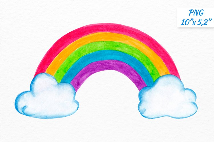 Watercolor rainbow clipart Rainbow with clouds clipart