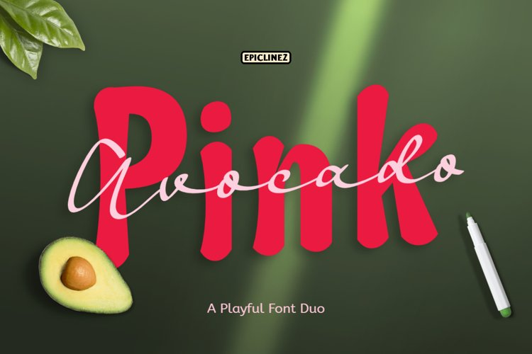 Pink Avocado - Playful Font Duo example image 1