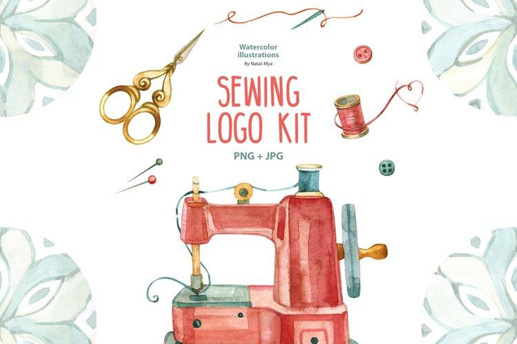 Watercolor sewing logo kit example image 1