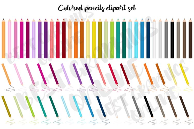 Colored pencils clipart set, Coloring pencils clip art image example image 1