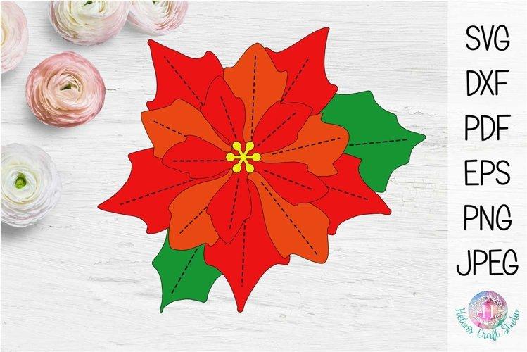 Poinsettia 3D Christmas flower example image 1