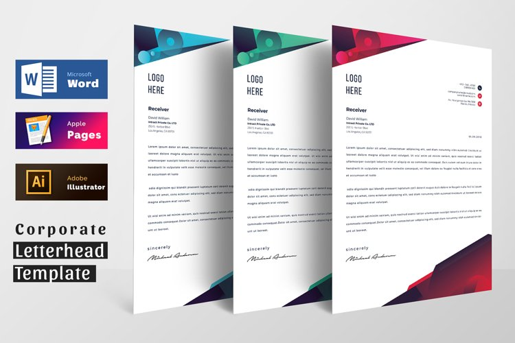 Modern Letterhead Pad Template With Word Apple Pages Format example image 1