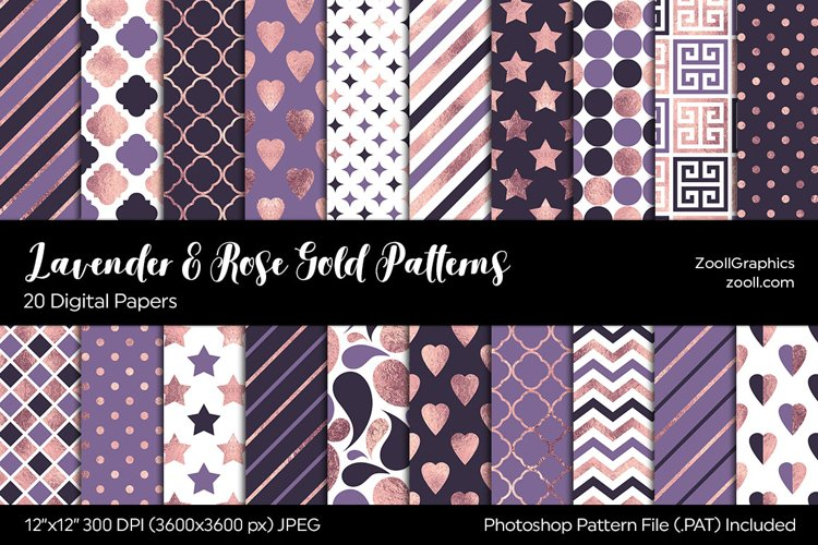 Lavender And Rose Gold Digital Papers