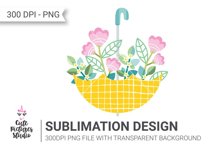 Yellow umbrella with a bouquet of flowers PNG clipart