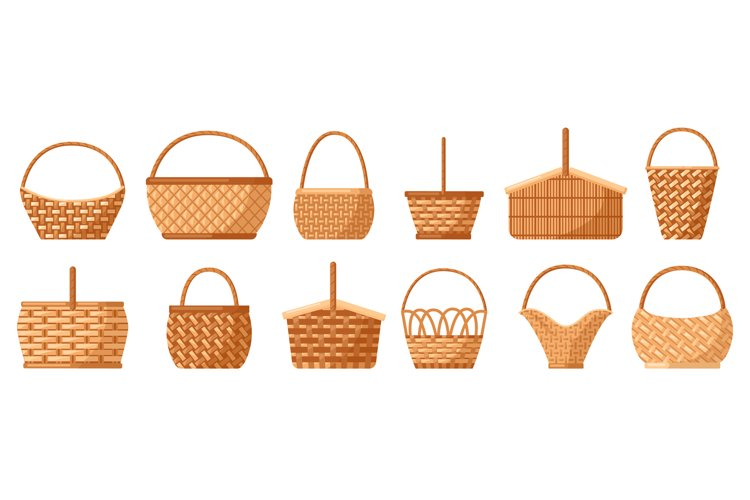 Wicker baskets. Picnic willow baskets, empty straw hampers, example image 1