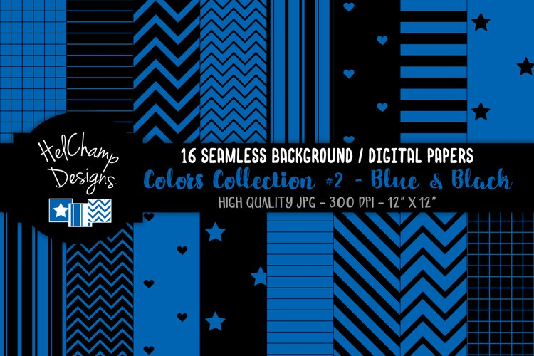 16 seamless Digital Papers - Blue and Black - HC130