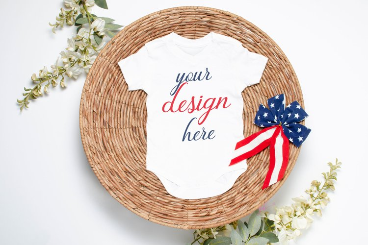 July 4th Baby Bodysuit Mockup White, 4th of July Baby Mockup example image 1