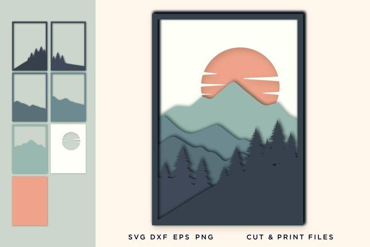 Wall art 3D, Pine Tree, File for Cricut, Layered Mountain