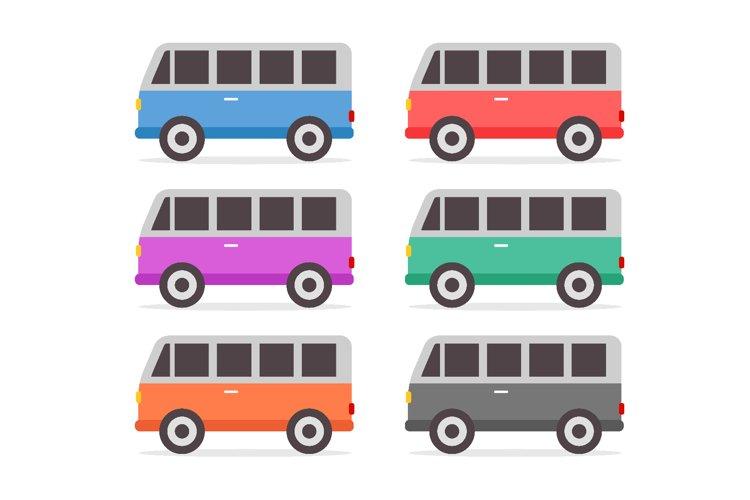 Retro cars set full color in flat design vector illustration example image 1