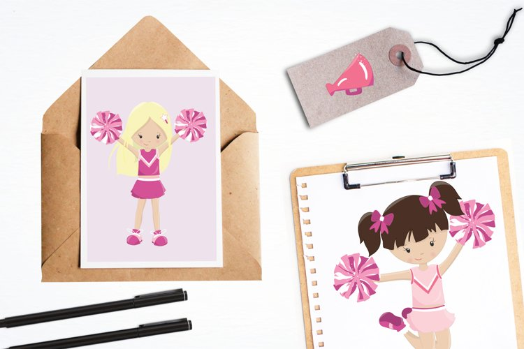 Cheerleaders graphics and illustrations - Free Design of The Week Design2