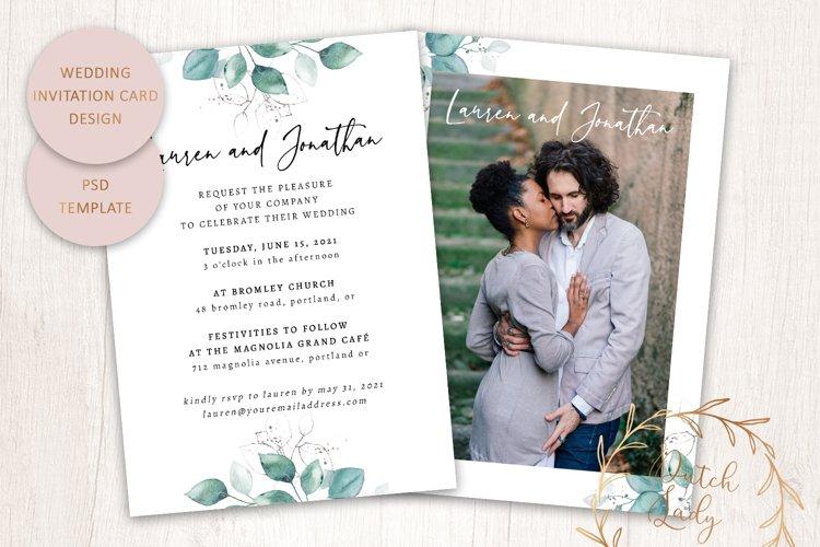 PSD Wedding Invitation Card Template - Double Sided - #1