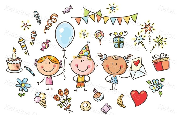 Kids and party things clipart set