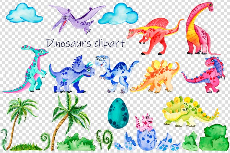Baby Cute Dinosaurs Watercolor Clipart - Free Design of The Week Design2