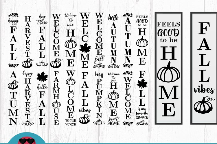 20 Autumn Porch Signs, door vertical signs bundle vol 2