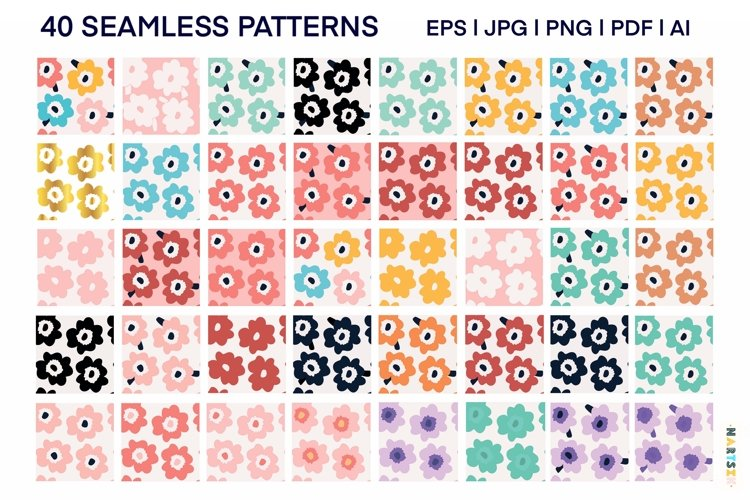 Abstract floral pattern, large set.
