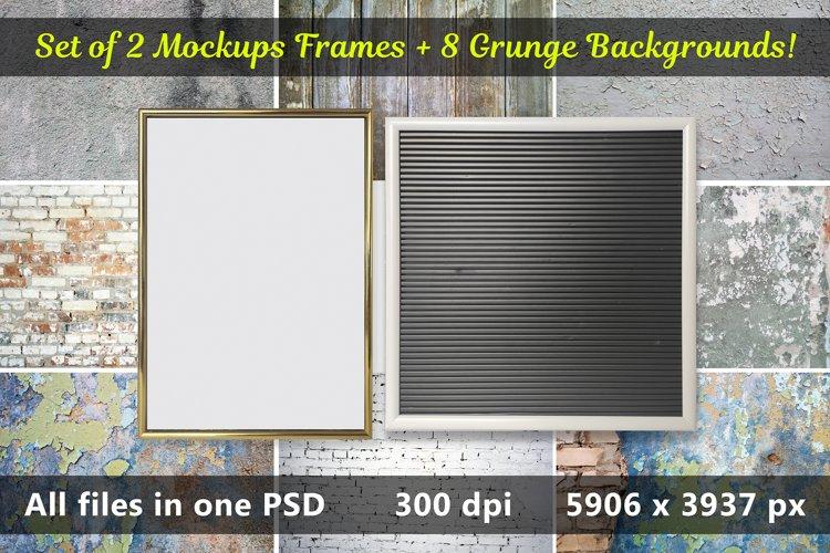 Set of Digital Mockup with 2 Frames and 8 Grunge Backgrounds