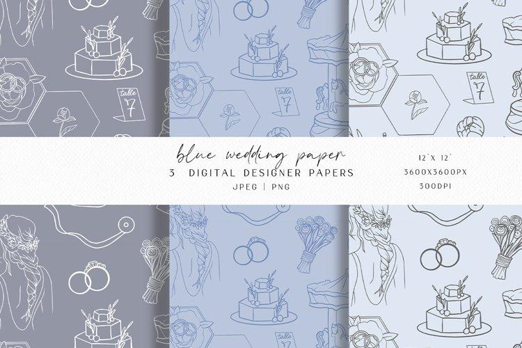 Blue Wedding Digital Paper example image 1