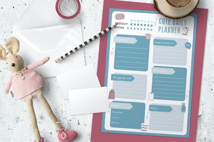 4 Cute Daily Planner Canva Templates example 3