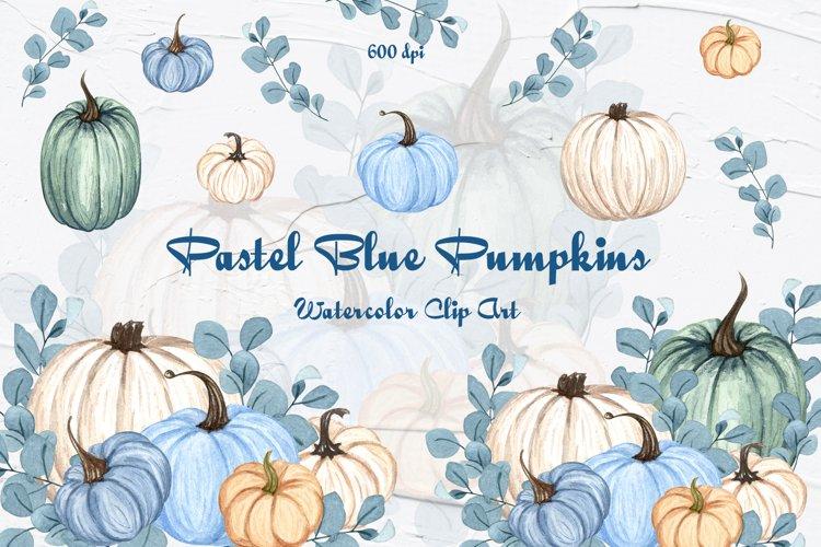 Blue Pumpkins Watercolor Clipart example image 1