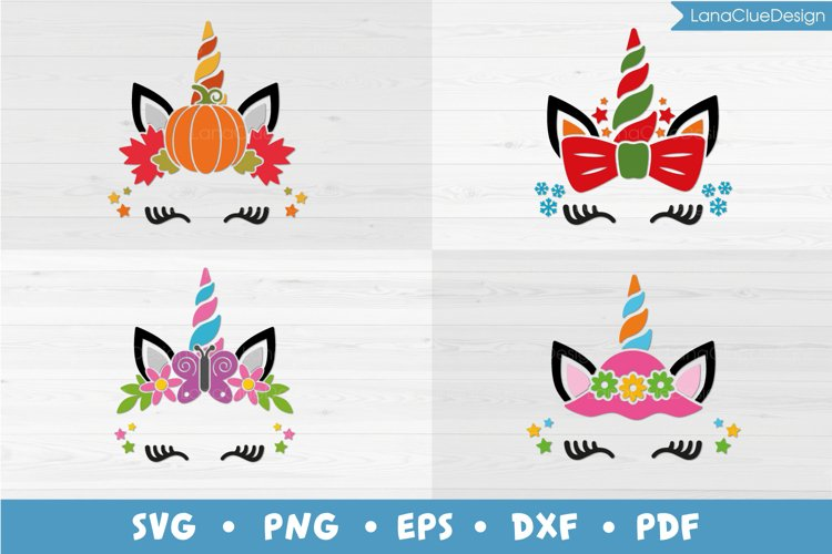 4 Seasons Unicorn Bundle SVG, Fall Winter Spring Summer