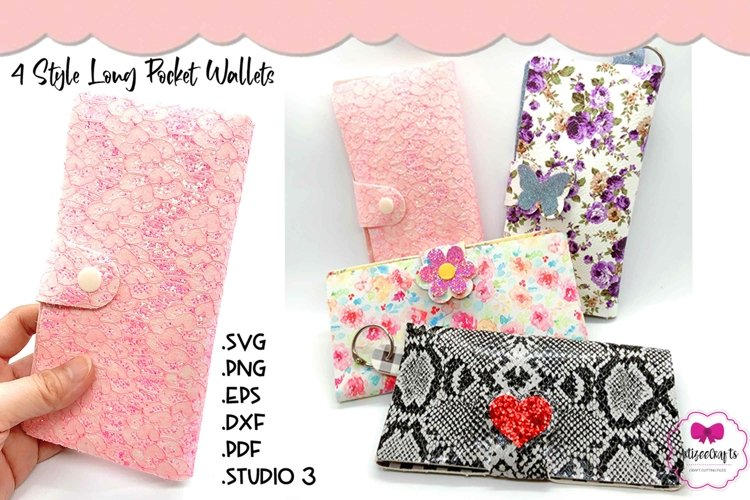 4 Style Pocket WalletTemplate, Sew or No Sew Wallet, Purse