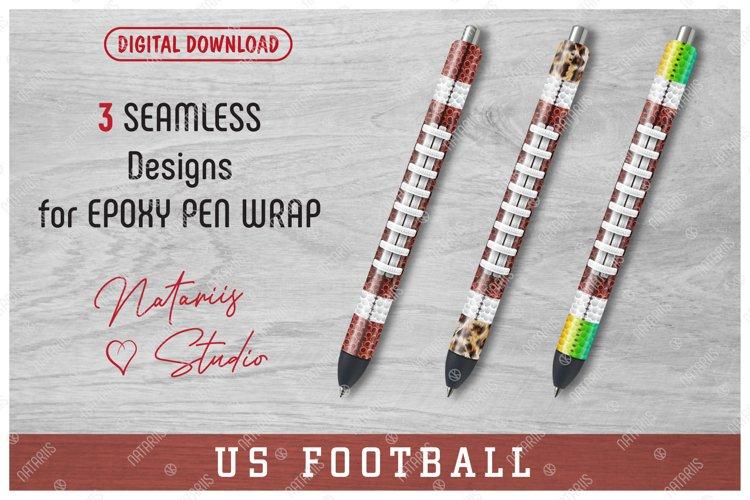 3 Seamless US Football Patterns for Epoxy Pen Wrap