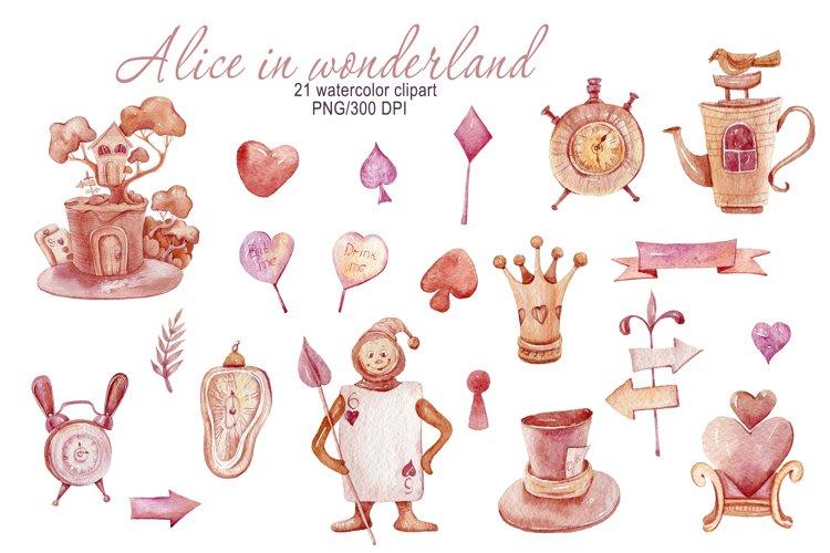 Watercolor Alice in Wonderland clipart. Fantasy cartoon set