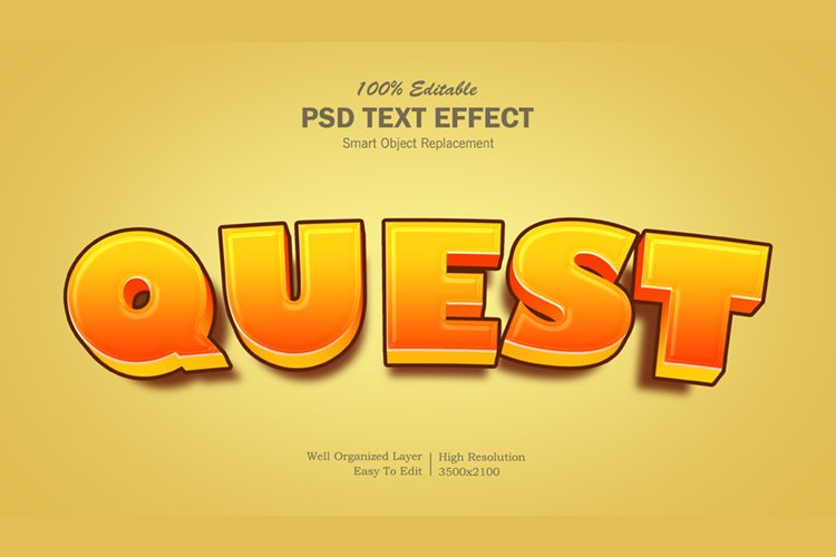 3D Quest Text Effect example image 1