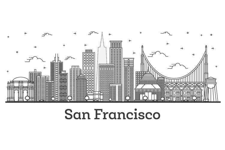 Outline San Francisco California City Skyline with Modern example image 1