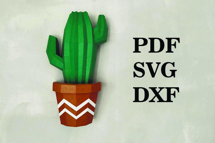 cactus wall decor 3d, paperart decor, PDF, DXF, svg,paper