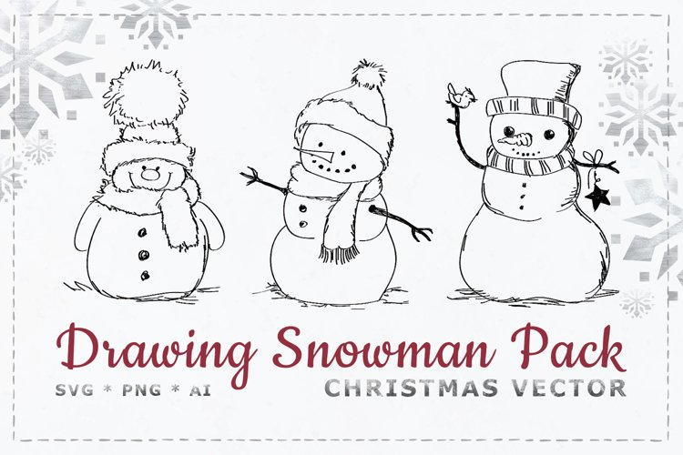 Drawing Snowman Pack - Christmas vectors in SVG, AI, PNG