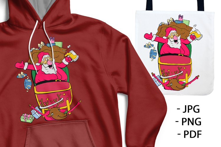 HAPPY DRUNK SANTA CLAUS. UGLY CHRISTMAS SWEATER.
